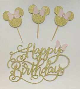 24 Gold and Pink With Pearl Minnie Mouse Cupcake  Toppers + Cake Topper