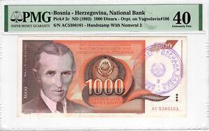 PMG Bosnia Herzegovina 1992 1000 Dinara Pick 2c Handstamp #2 EF 40 RARE Tesla