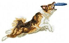 "Australian Shepherd, Aussie Dog Jumping for Frisbee, Embroidered Patch 2.4"" Tall"