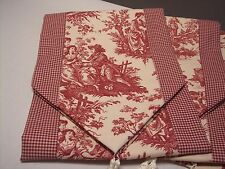 """72"""" RED ON CREAM~WAVERLY Country Life Toile/Checked~Lined Tablerunner Tassels!"""