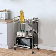 Küchenwagen Küchentrolley Servierwagen Rollwagen Beistellwagen Mit Rädern Silber