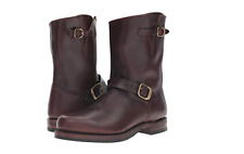 New in Box Mens Frye John Addison Engineer Dark Brown Smooth Pull-Up Leather 8 M
