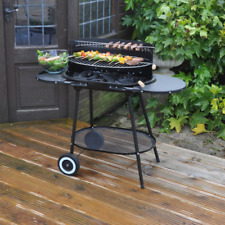 Large Oval Steel Trolley BBQ Black Outdoor Cooker Barbeque Portable Grill Kettle