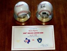Nolan Ryan Commemorative Baseballs (2) Mile High Stadium & 300th Win Ultra Pro