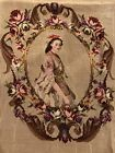 Eighteenth Century Lady Tapestry Chair Back Petit Point and Needlepoint