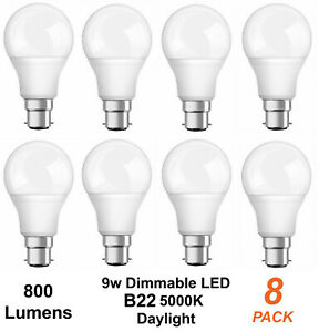 8 x Pack Dimmable Bayonet B22 9w LED Light Lamp Bulbs 800 Lumens 5000K Daylight