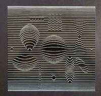 "Victor Vasarely ""Manipur"" Mounted Offset b/w  Lithograph 1971"