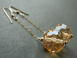 Large Faceted Golden Champagne AB Glass Crystals, 14ct Rolled Gold Drop Earrings