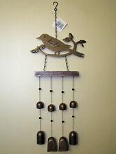 New listing Metal & Wood Bird Wind Chime Bronze/Black Finish Outdoor Patio/Garden Decor