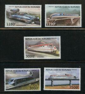 Aerotrains mnh set 5 stamps 2012 Burundi HSR Railroad Railway