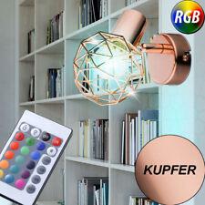 RGB LED Wand Kugel Leuchte Dimmer Fernbedienung Kupfer Geflecht Flur Lampe Küche