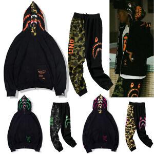 Men's Double Hoodie Pant Trousers Shark Jaw Head Sweatshirt Coat Jacket  Women's