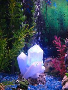 Crystal Ornament Internal Air Pump Blue LED Bubble Maker, Aquarium Decoration