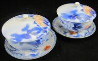 Vintage ASIAN PORCELAIN COVERED TEA CUPS & SAUCERS Pair Floral Blue White Lid