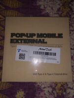 Pop-Up Mobile External Drive. Brand New In Box/plastic. Type A&C Data Port.