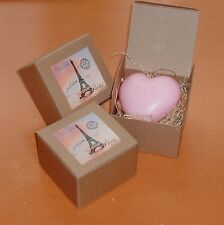 Heart Shaped Soap - Tea Rose Fragrance - Made in France, Boxed (price is for 1)