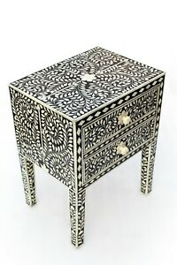 In Stock. Abacus & Hunt Bone Inlay Bedside Table