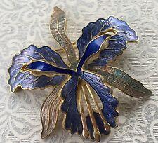 Vintage Retro 1980s Blue Orchid GT Cloisonné Enamel Fish Brooch Pin Gift