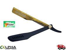 Barber Cut Throat Shavette Straight Razor Folding Shaving Beard Gold 5 Blades