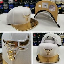 Mitchell & Ness NBA Chicago Bulls WHITE / Gold snapback Adjustable Hat Cap
