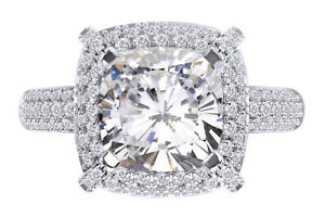925 Sterling Silver Cubic Zirconia 3 Cttw Cushion Cut Halo Engagement Ring