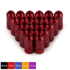 20pcs Aluminum Extended Tuner Round Lug Nuts M12x1.5 Cone Seat Bolt Open End Red