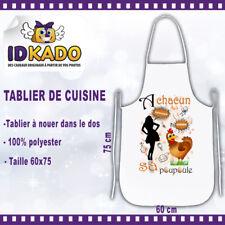 Tablier de cuisine personnalisé A CHACUN SA POULE  humour cuisine