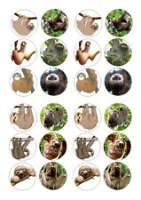 24 SLOTH / SLOTHS  BIRTHDAY  CUPCAKE TOPPER WAFER RICE EDIBLE FAIRY CAKE TOPPERS