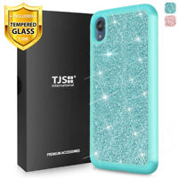 For Motorola Moto E6, Phone Case TJS Sapphire Glitter Bling +Tempered Glass