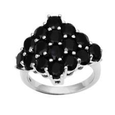 Black Spinel Cocktail Design 925 Sterling Silver Women Ring Sz 8.5 SHRI0843