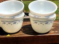 4 Vintage Pyrex Corning Coffee Cups Milk Glass Floral Flowers Blue Provincial