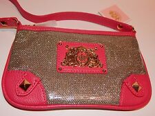 JUICY COUTURE GIRLS' PURSE CLUTCH CROSSBODY PINK AND SILVER