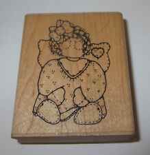 Emily Angel Rubber Stamp D.O.T.S. Wings Heart Bow in Hair Girl Wood Mounted