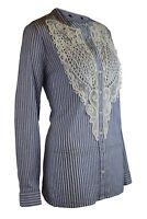 Womens Lace Bib Pin Stripe Blue White Casual Smart Shirt Top Regular Plus