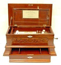 Large Antique Swiss Cylinder Music Box ~ Mahogany Case W/ 3 Cylinder Drawer
