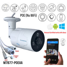 Microseven 1080P/30fps PoE Outdoor IP Camera 2 Two-Way Audio,128GB SD Slot,Alexa