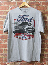 Ford Official L T-Shirt American Auto Car Vehicle Graphic Grey Built Tough