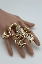 Women Gold Ring Two Finger Metal Elastic Band Jewelry Sexy Scorpion Rhinestones
