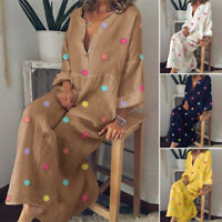 ZANZEA Womens Oversized Polka Dot Long Sleeve Dress Ladies Casual Baggy Kaftan