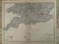 1881 SOUTHERN ENGLAND LARGE HAND COLOURED ORIGINAL ANTIQUE MAP BY JOHNSTON
