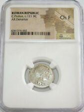 c. 121 BC SILVER ROMAN REPUBLIC C. PLUTIUS DENARIUS COIN NGC CHOICE FINE