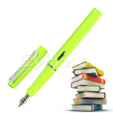 JINHAO 599 FLUORESCENT GREEN MEDIUM NIB FOUNTAIN PEN SILVER TRIM