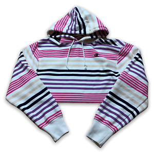 Champion Womens Cropped Hoodie Reverse Weave Striped Pullover Sweatshirt Size M