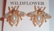 PIERCED EARRINGS TEAR DROP FX PEARL GOLD INSECT RHINESTONE BUMBLEBEE HONEY BEE