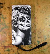 Womens Clutch Zipper Wallet Purse Day of the Dead Sugar Skull Girl Tattoo Flash