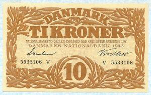 DENMARK 10 Kroner 1943 P31p UNC