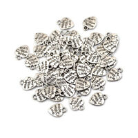 50X Silver/Bronze Plated MADE WITH LOVE Heart Charm Pendants Jewelry Parts P&T