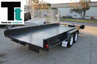 16x6'6 TANDEM CAR CARRIER TRAILER BOX STYLE SIDES - NEW RIMS - 1990kg GVM