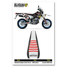 2000-2017 SUZUKI DRZ 400 Black/White/Red RIBBED SEAT COVER BY Enjoy MFG
