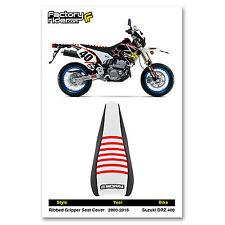 2000-2015 SUZUKI DRZ 400 Black/White/Red RIBBED SEAT COVER BY Enjoy MFG